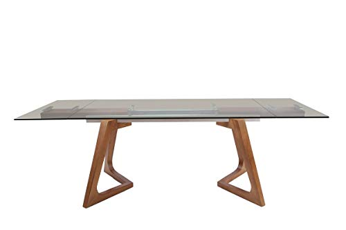 - Limari Home LIM-75383 Scarpetta Collection Modern Style Glass Extendable Rectangular Dining Table with Veneer Finished Legs Tea Smoked & Walnut