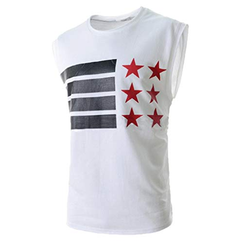 iHPH7 Tank Tops Men Active Quick Dry Workout Tank Tops Sleeveless Athletic Performance Running Training Gym Top Shirts Trendy Casual Printed T-Shirt Top Blouse M White]()