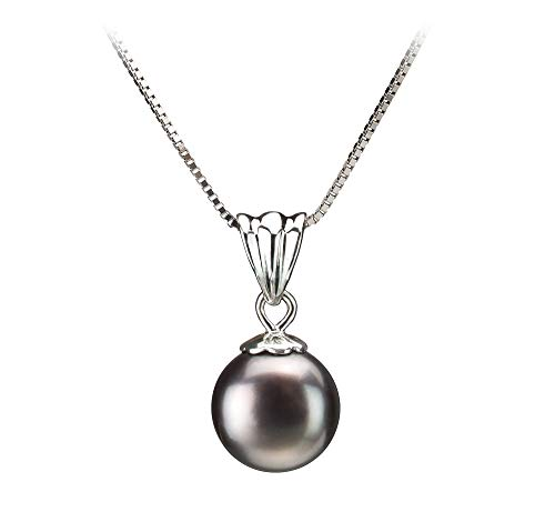 Nancy Black 9-10mm AA Quality Freshwater 925 Sterling Silver Cultured Pearl Pendant For ()