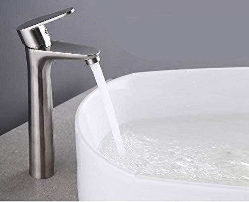 ZY-YY バスルームのシンクは、スロット付き浴室の洗面台のシンクホットコールドタップミキサー流域の真鍮シンクミキサータップ非震とう浴室の蛇口304ステンレススチールブラシ温水と冷水の蛇口をタップ