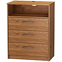 Homestar Finch 3 Drawer TV Chest, 27.5 x 15.63 x 36.25, Bank Alder
