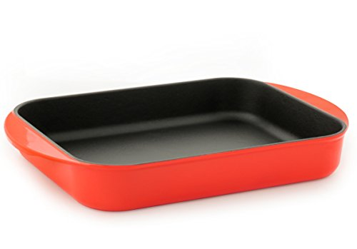 Dexart Rectangular Enameled Cast Iron Baking Dish, Roaster, Lasagna Pan, 9