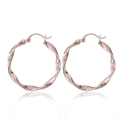 FidgetGear Women Gold Silver Metal Big Circle Large Ring Hoop Stud Ear Earrings Rose Gold ()