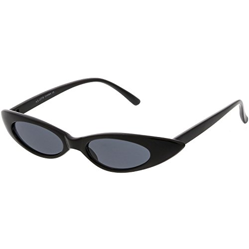 sunglassLA - Ultra Thin Extreme Oval Sunglasses Neutral Colored Oval Lens 47mm (Black / (Oval Thin)
