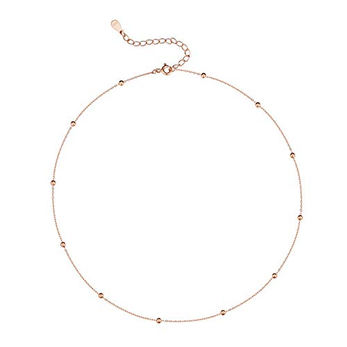 IminiJewelry Minimalist Ball Choker Necklace Women Teen Girls Rose Gold Satellite Beaded Chain Layering Simple Chokers Adjustable (Rose Gold)
