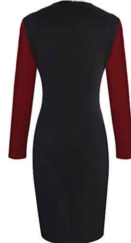 Nach Der Spaltung Der Taille Mit Langen Ärmeln Kleid,Rotwein,S