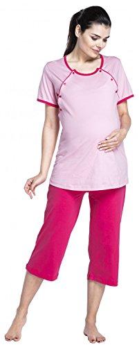 Zeta Ville Premamá Camisón - bata - embarazo y lactancia - Mezcla y combina 393c Pijama - Polvo de Color Rosa