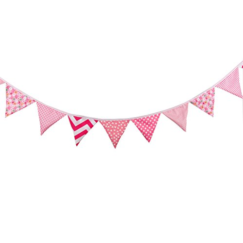 Beautiful Multi Colored (Multi Colored Fabric Bunting For Party Birthday Wedding Anniversary Celebration Baby Shower(Baby Pink))