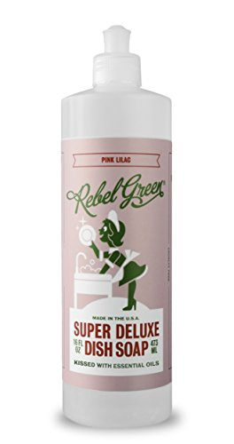 Rebel Green Super Deluxe Dish Soap, Natural Eco Friendly Liquid Detergent - Pink Lilac Scented, 16 Ounce Bottle, Pack of (Deluxe Soap)