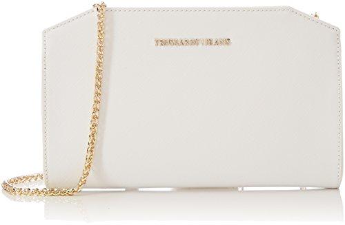 Trussardi Jeans Levanto, Pochette da Giorno Donna, 25x15x5 cm Bianco