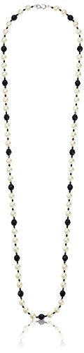 Kenneth Jay Lane White Pearl Jet Bead Strand Necklace, 49