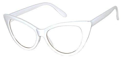 [OWL Cat Eye Sunglasses Vintage White Clear Lens] (White Cat Eye Glasses)