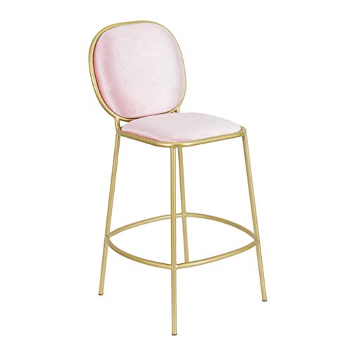 - 29 Inch Metal Bar Stools - Suede Seat Cushion with Backrest Barstools Dining Chairs for Dining Kitchen or Counter | Pub | Café, Powder Coated Gold Max. Load 200 kg