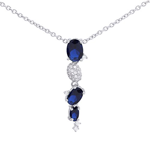 (Jewel Zone US Mothers Day Jewelry Gifts Simulated Blue Sapphire & White CZ Journey Pendant Necklace 14k White Gold Over Sterling Silver)
