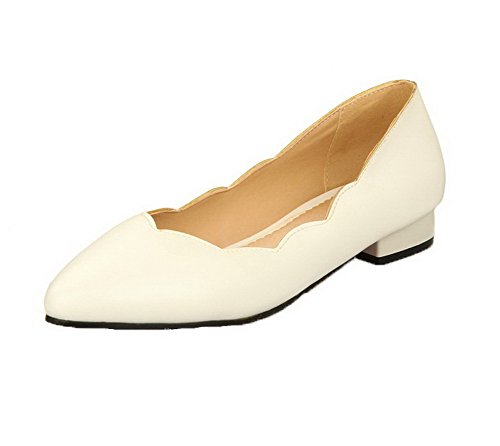 AllhqFashion Womens PU Solid Pull-On Pointed-Toe Low-Heels Pumps-Shoes White CHxEbeAQ