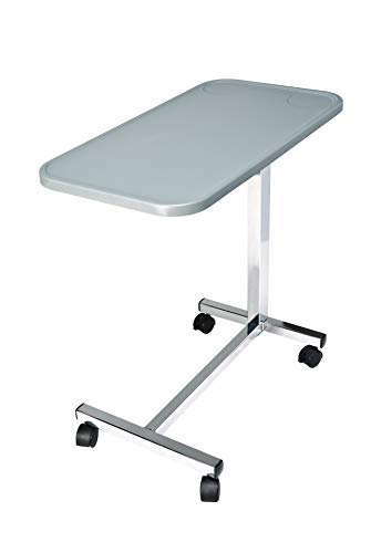 "Lumex Modern Overbed Table with Wheels, Contemporary Grey Top, 28-41"" Height, GF8903P"