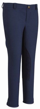 TuffRider Girl's Ribb Lowrise Pull-OnBreech, Denim, 10 (Jeans Tuffrider Riding)