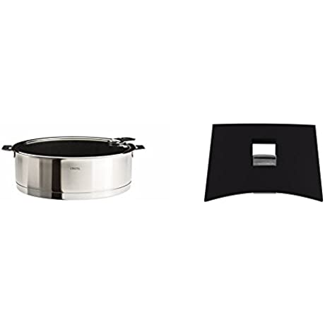 Cristel Strate S24QLEKSA Saute Pan 3 5 Quart Silver With Cristel Mutine Plman Side Handle 1 Black