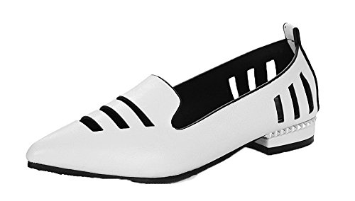 VogueZone009 Women's PU Closed-Toe Low-Heels Solid Pumps-Shoes White