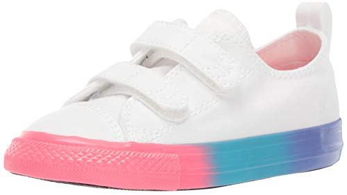 Converse Baby Infant Chuck Taylor All Star 2V Rainbow Midsole Low Top Sneaker White/Racer Pink/Black 3 M US ()