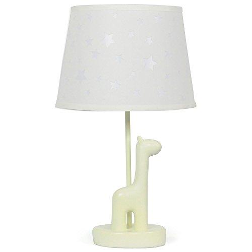 White Star Nursery Lamp Shade with White Giraffe Base, CFL Bulb (Baby Safari Lamp Shade)
