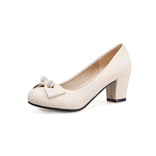 Zapatos de Tacón/Durante la Primavera y el Otoño Pajarita Zapatos de Mujer Dulce Espeso con Números Grandes con Zapatos. Beige