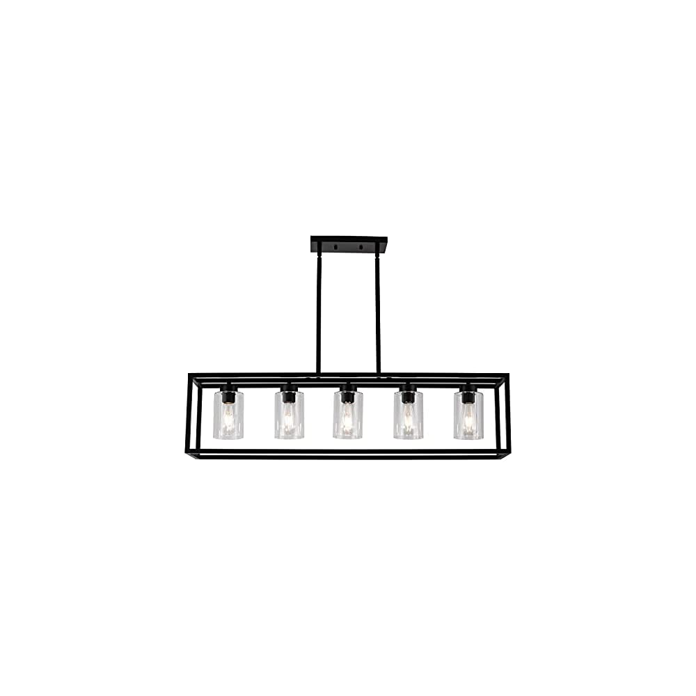 CSPRING Contemporary Farmhouse Chandeliers for Kitchen Island with Clear Glass Shade Black 5 Light Dining Room Lighting…