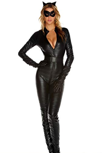 Forplay Fierce Feline Ears, Mas, Jumpsuit, Belt, Gloves, Black, Small/Medium -