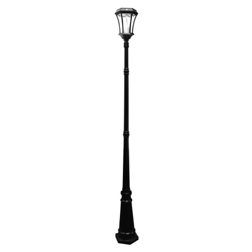 Gama Sonic Victorian Solar Lamp Post and Single Lamp LED Light Fixture, 93-Inch Height, Black Finish #GS-94S-B