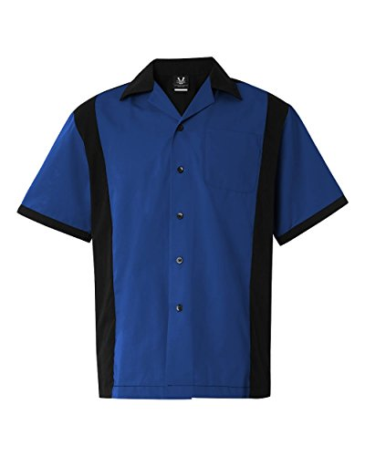 Hilton HP2243 Men's Cruiser Bowling Shirt Royal Large (Classic Bowling Shirt)