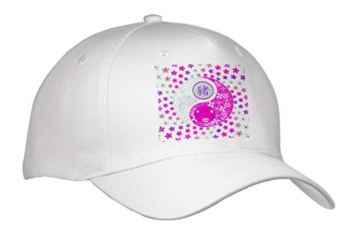 Beverly Turner Chinese New Year Design - Bright Pinks and Purple Flowered Yin Yang, Pig Face, Sign of The Pig - Caps - Adult Baseball Cap (Cap_287018_1)