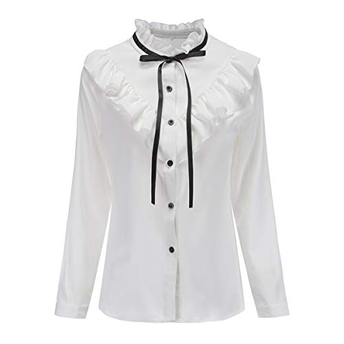 - Shirts for Women Vintage Victoria Ruffle Ruffle Bow Tie Lolita Blouse Top (YS03-White, S)