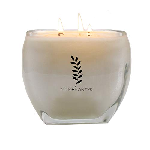 MILK+HONEYS Large Scented Candle - White Tea Ginger - 100% Soy Candle, 3 Wicks, 15oz Large Modern Luxe Heavy Glass Holder