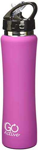 GO Bottles Stainless Steel Insulated with Flip Straw and Sweat-Proof Rubber Grip H2O Sports Drinking Bottle is BPA Free, Portable, Durable, Good for Kids, Keeps Ice Over 20 Hours, 17 oz, Blue