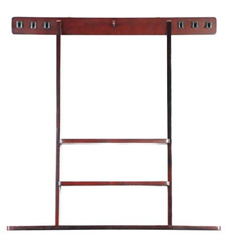 6-Pool-Cue-Billiard-Stick-Wall-Rack-Made-of-Wood-Choose-Mahogany-Black-or-Oak