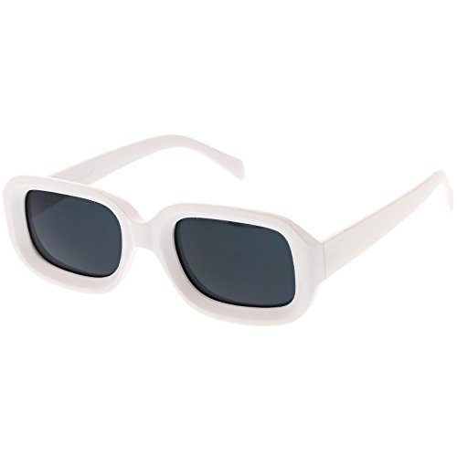 sunglassLA - Chunky Matte Finish Rectangle Sunglasses Neutral Colored Lens 50mm (White / - Rectangle Frame Sunglasses