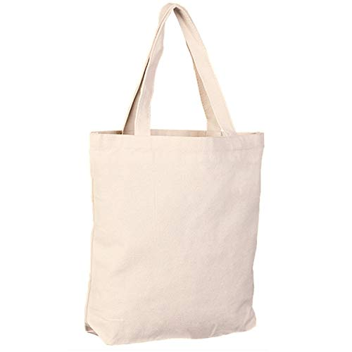 3Pack Natural Cotton Canvas Tote Bags, Blank DIY for Crafting Decorating, Durable Reusable Washable Grocery Bag for Shopping, Books, Daily ()