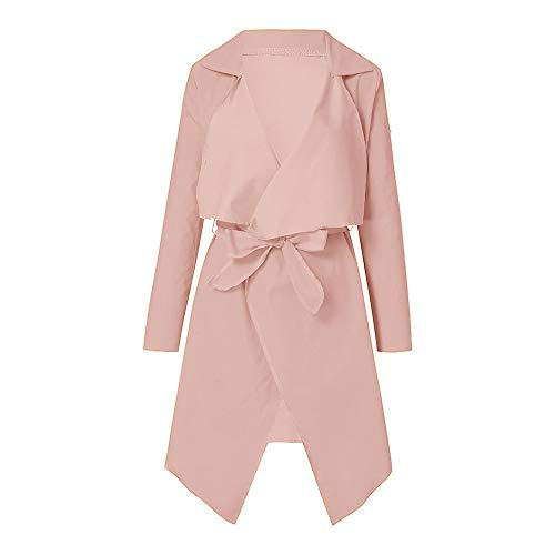 NUWFOR Women's Loose Solid Irregular Hem with Lapel Coat Trench Coat Cardigan Tops(Pink,S) by NUWFOR (Image #1)