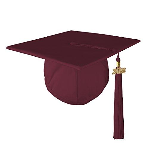 Class Act Graduation Graduation Matte Mortar Board Cap and Matching 2018 Tassel - Burgundy
