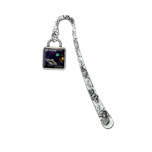 Saucer Charm - Flying Saucer UFO Planets Space Be Home Soon Square Book Bookmark with Square Antiqued Charm