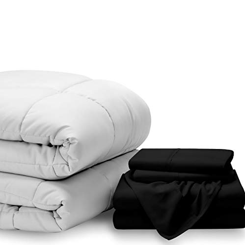 - Hemau Bed-in-A-Bag 5 Piece Comforter & Sheet Set - King - Goose Down Alternative - Ultra-Soft 1800 Premium - Hypoallergenic - Bare Breathable Bedding (King, White/Black)   Style 503193324