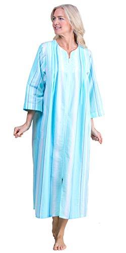 Miss Elaine Women's Striped Seersucker Front-Zip Robe (Medium, Blue Stripe)