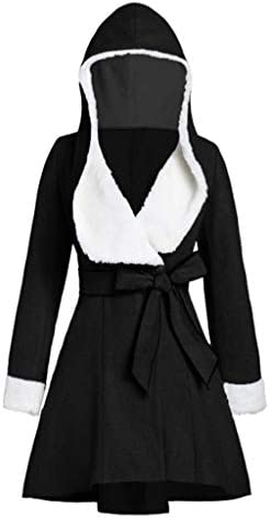 Oldlover-Women Winter Mid Length Thick Warm Faux Lamb Wool Lined Jacket Ski Jacket Warm Winter Snow CoatBelt