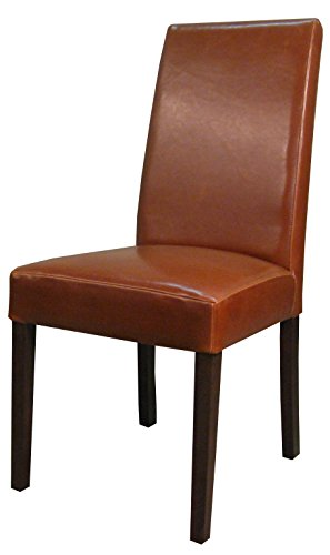 New Pacific Direct Hartford Bonded Leather Chair,Brown Legs,Cognac Brown,Set of 2 ()