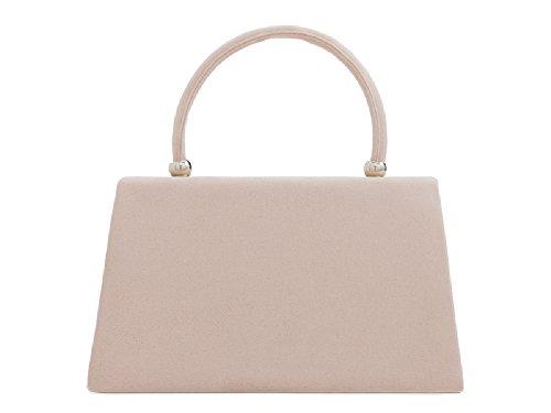 Floral Handbag Clutch Faux KH2208 Designer Evening Women's Flower Bag Ladies Nude Suede qz8vw5qI