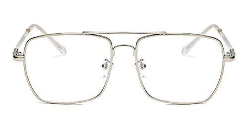Slocyclub Mens Rectangular Flat Top Full Rimmed Metal - Silver Eyeglasses Rimmed