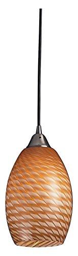 Mulinello Art - Mulinello 1 Light Pendant in Satin Nickel with Cocoa Glass