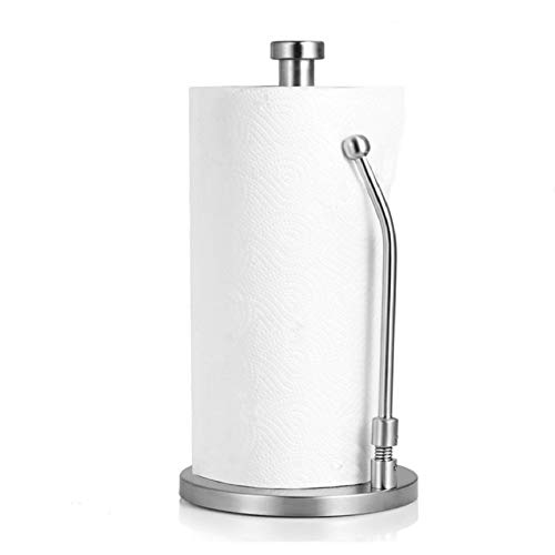 Standing Paper Towel Holder Stainless Steel, Sturdy and Recyclable Kitchen Tissue Holder Countertop for Kitchen & Bathroo,Anti-Slip, Simply Tear Roll Contemporary Paper Towel Holder Napkin Towel hold by Glleen