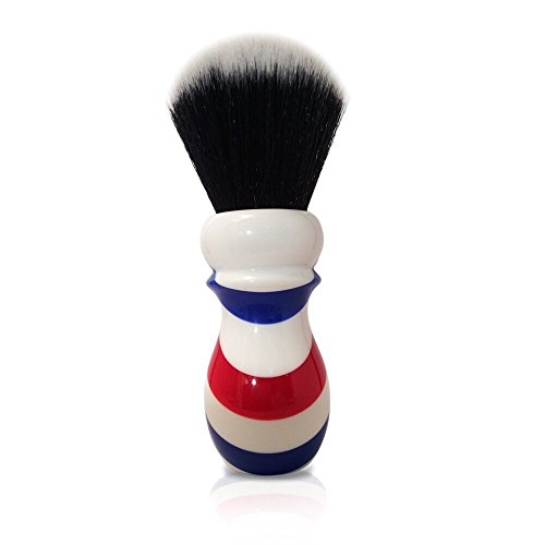 Haircut & Shave Co. Proven Synthetic Shaving Brush 24mm Extra Dense Knot And 54mm Loft - Fast Drying Pre-Shave Brush (Barber Pole)