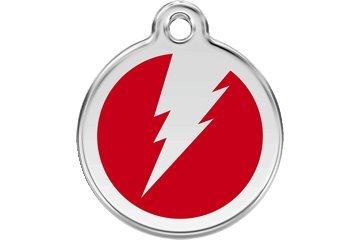 Red Dingo Custom Engraved Dog ID Tag - Lightning Bolt Medium/Red